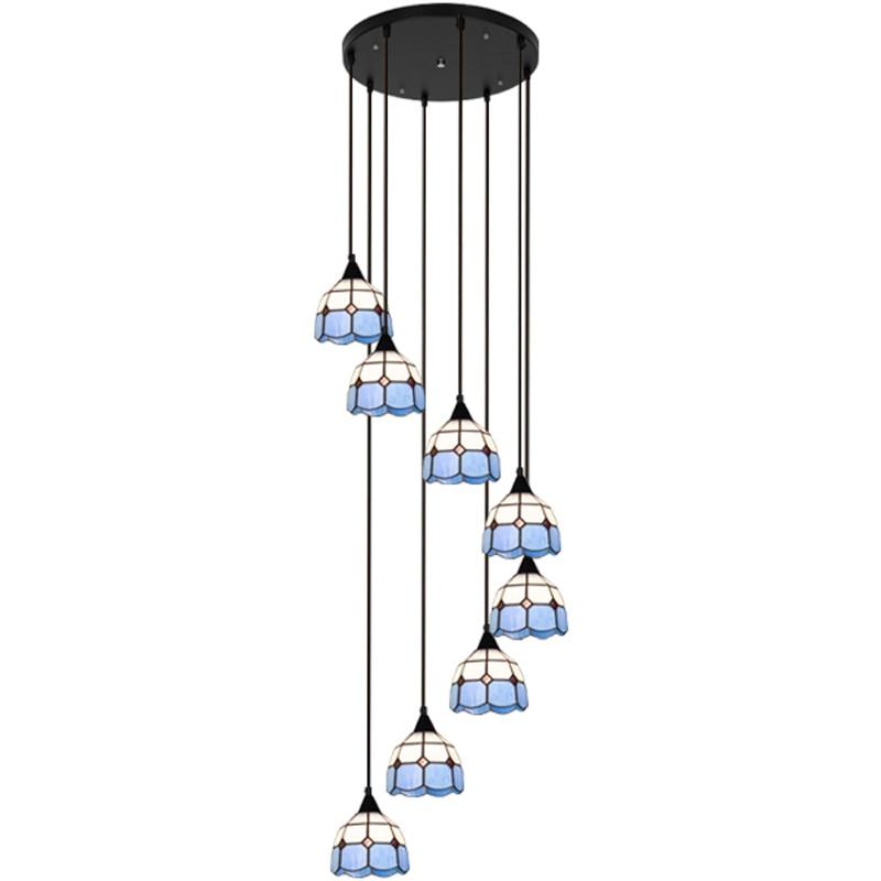 المتوسط الدرج قلادة أضواء الإبداعية الأزرق غرفة المعيشة لوفت دوبلكس بناء الدورية الدرج طويل تيفاني أضواء
