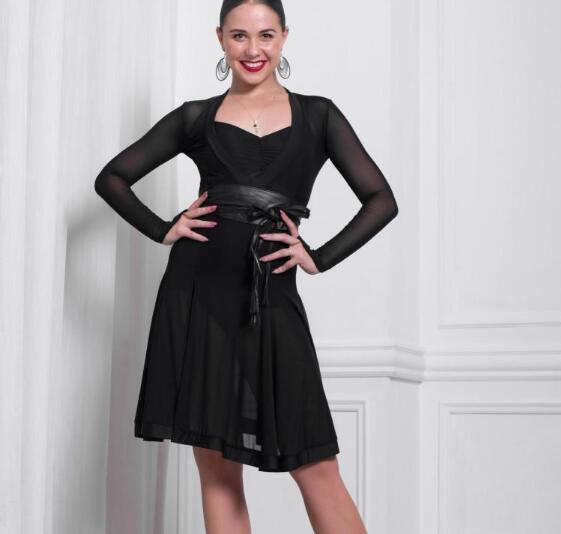Ballroom latina Salsa Tango Dança Roupas Vestido Dancewear Trajes Desgaste Com Franja E leopardo Barato Para Adultos preto 428