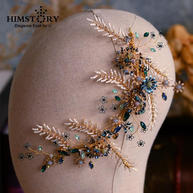2019 Newest Luxury Blue Crystal Hairpieces Crown Tiara Vintage Rhinestones Royal Queen Princess Pageant Party Crown Bridesmaids