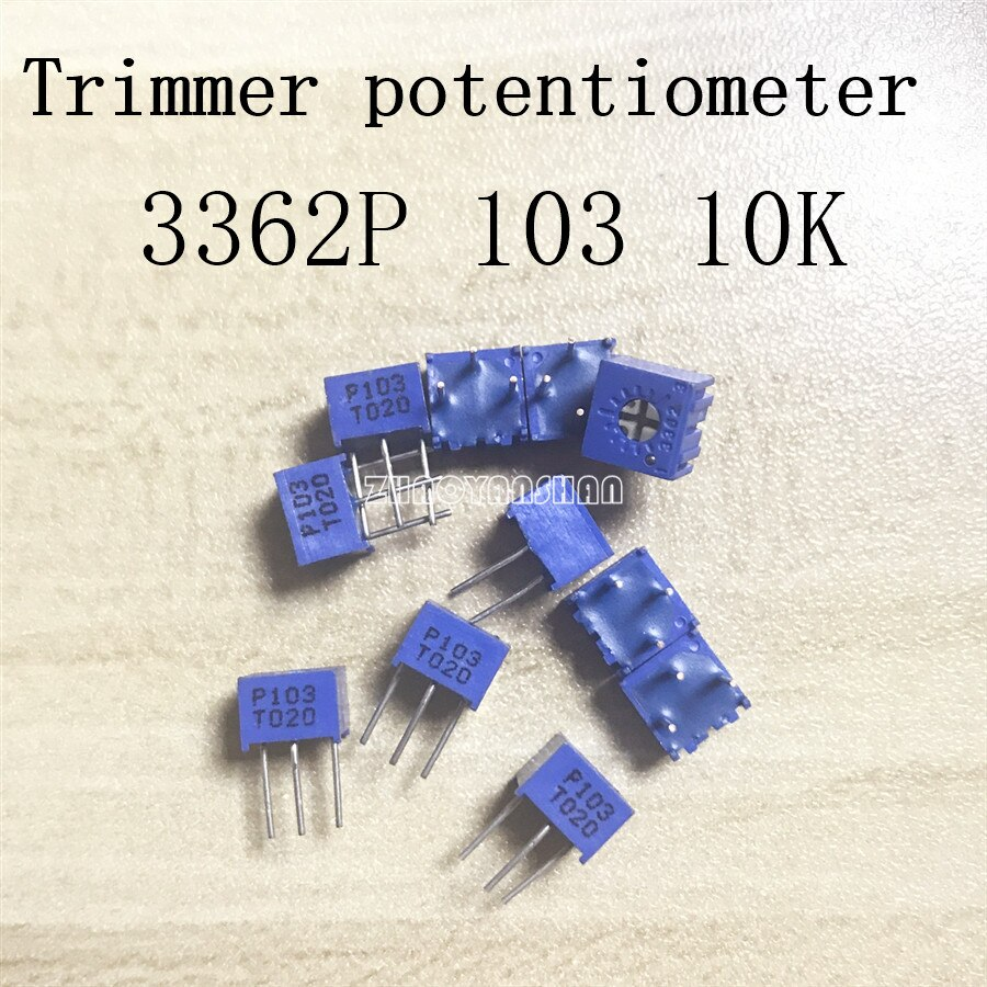 50pcs X 3362P 103 10k Adjustable potentiometer Trimmer potentiometer Free Shipping