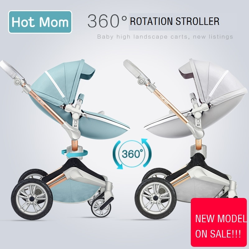 Mãe gostosa alta paisagem rotação de 360 graus, COURO pu bebê carrinho de criança, kinderwagen Padrão europeu, Newborn pram, carrinho de bebê