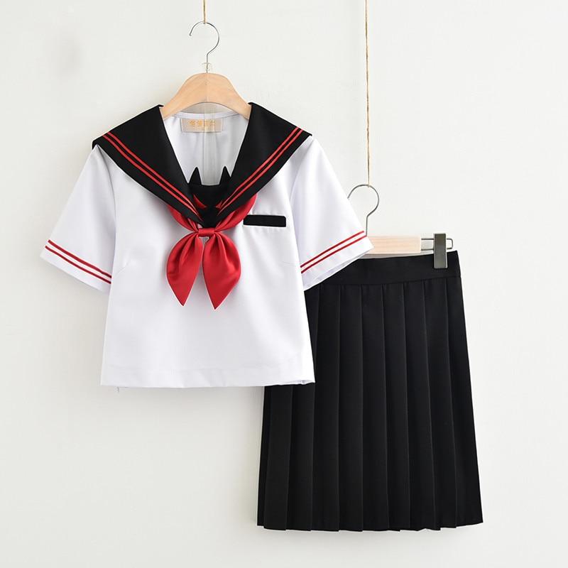 New School Uniform Design For High School Girls Dark Devil Embroidery Japanese Sailor Suit Novelty JK Uniforms