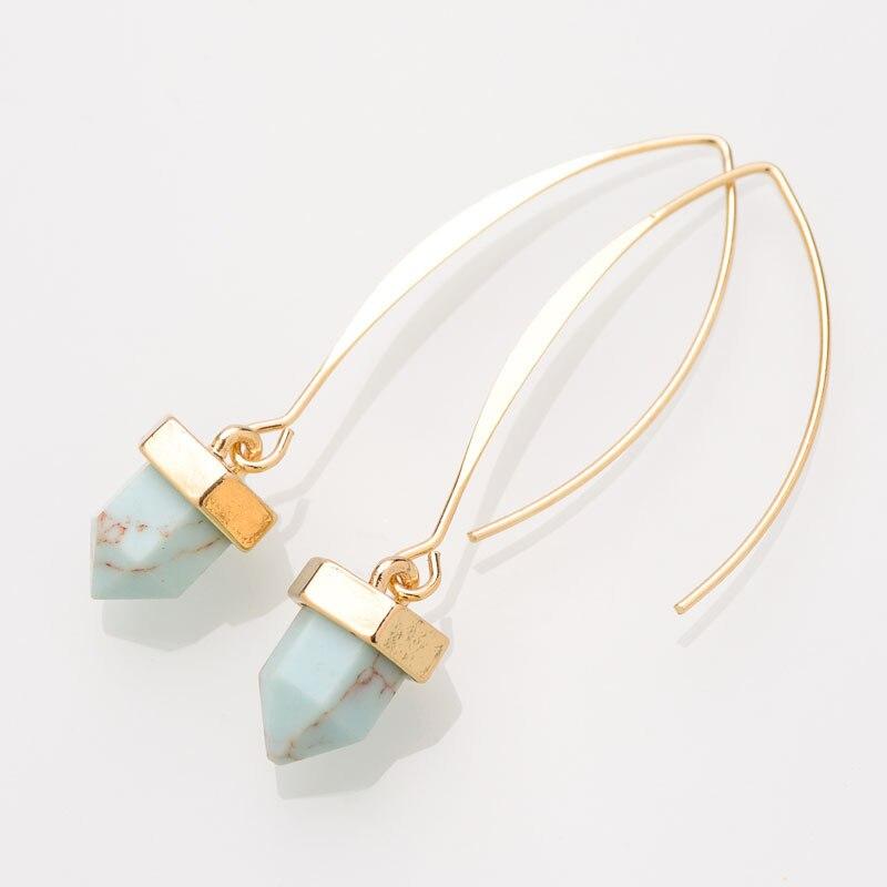 RE triangle jewelry accesorios para oreja pendientes de turquesas en forma de U pendientes de piedra azul natural pendientes de Color dorado para mujer J30