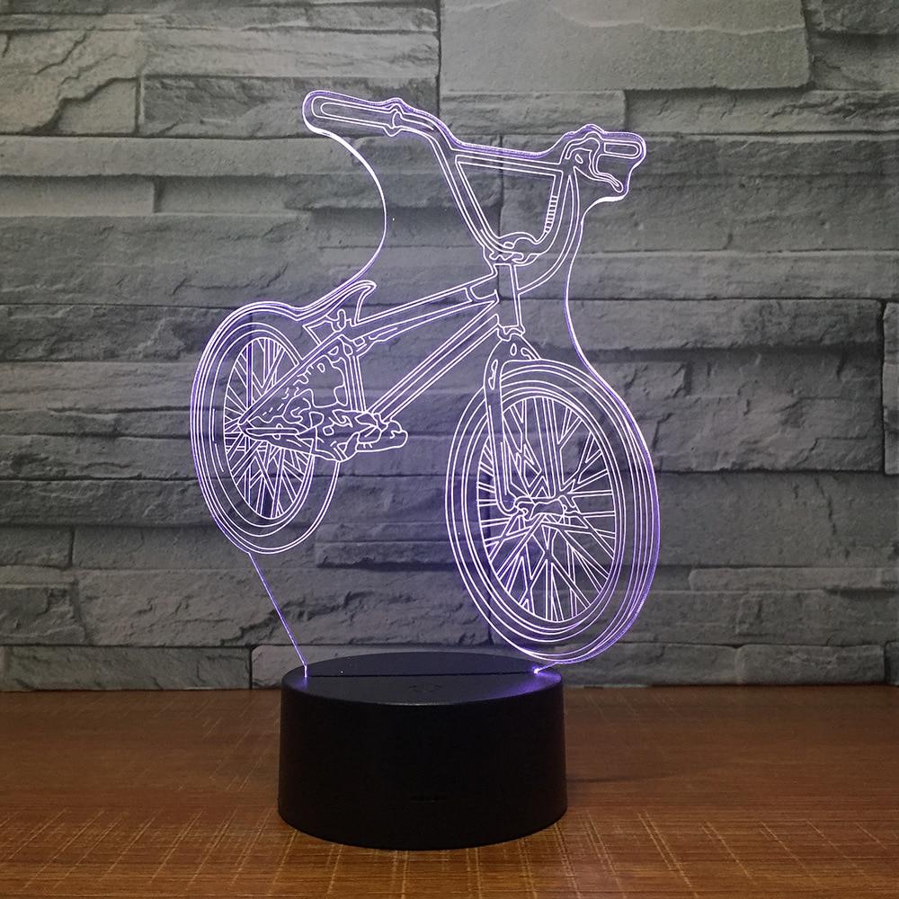 Con luces de bicicleta de montaña con reproductor Bluetooth, lámpara de noche colorida 3D, lámpara de noche, escritorio, luz musical para regalo de niños
