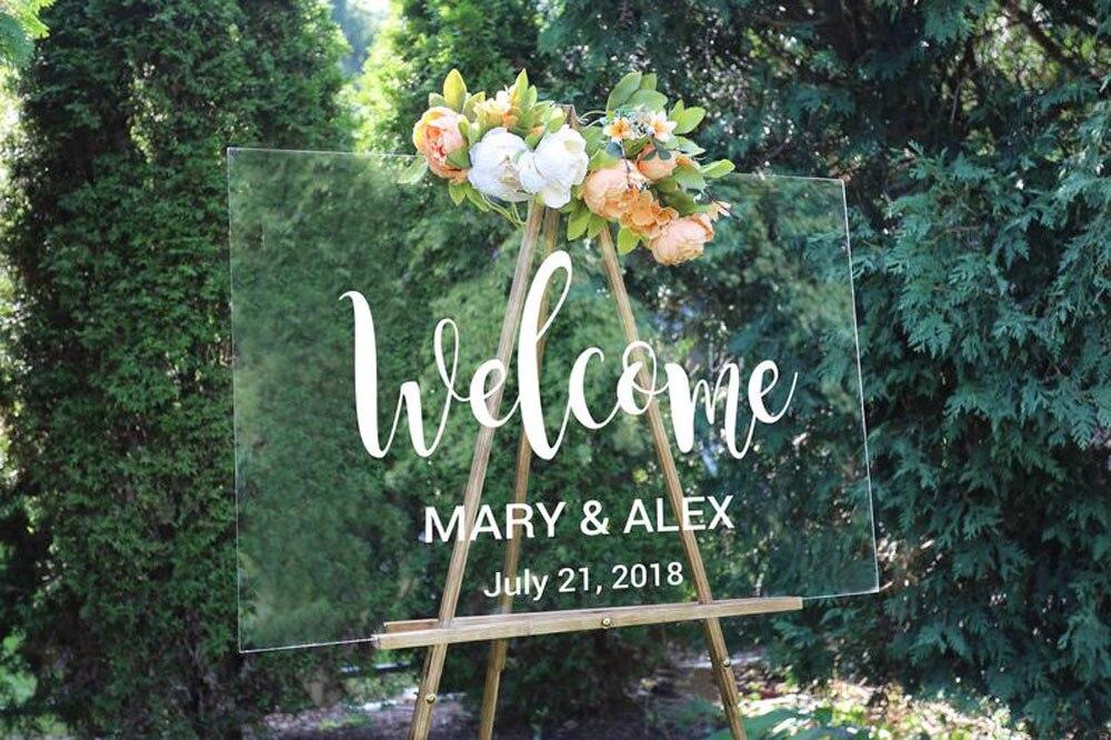Signo de bienvenida de la boda etiqueta rústica decoración de la boda personalizado fecha nombres tabla espejo extraíble pegatinas de pared Simple G331