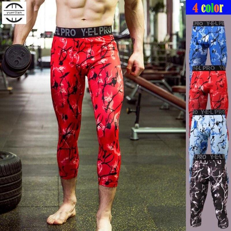Мужские брюки до середины икры для фитнеса, эластичные быстросохнущие спортивные Леггинсы в стиле хип-хоп
