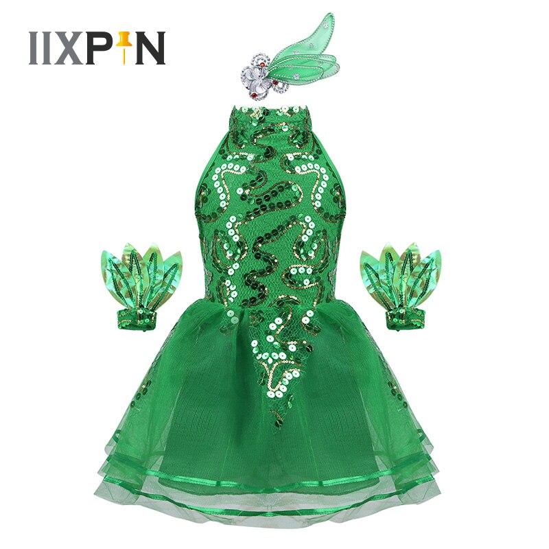 IIXPIN, vestido de Ballet para niñas, trajes de baile de jazz, sin mangas, cuello simulado, vestido de malla de lentejuelas brillantes para actuación baile de Ballet