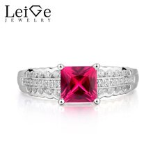 Leige bijoux rubis bague de mariage rouge rubis anneau juillet pierre de naissance princesse taille rouge pierre gemme 925 en argent Sterling cadeaux pour les femmes