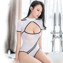 Navy Wit Streep Hoge Cut Strakke Vorm Bodysuit Sexy Lage Bust Open Bh Thong Turnpakje Vrouwen Hoge Hals Gesp Open kruis Bodysuit