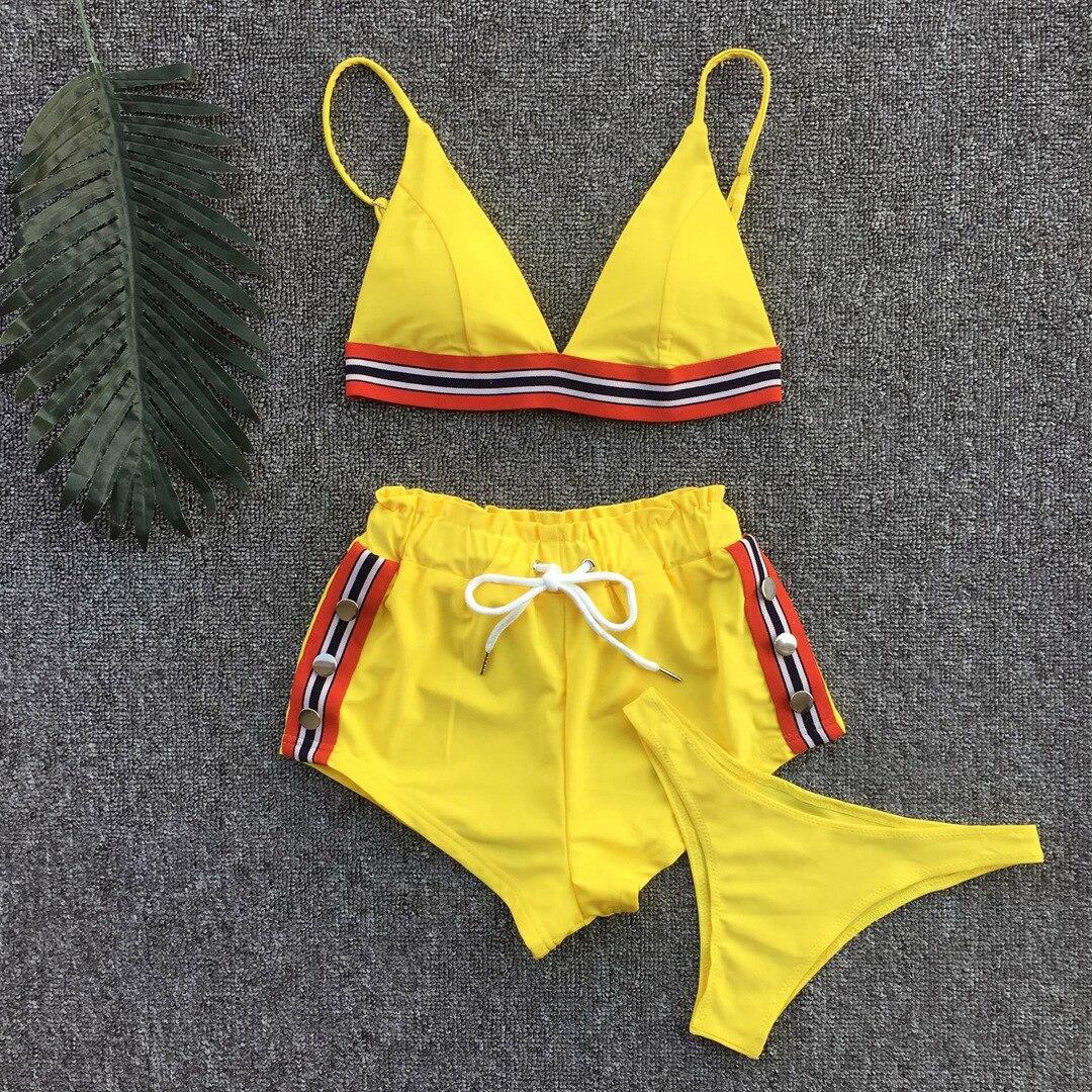Bikinis 2019 Bra chándal de rayas Mujer traje de baño 3 piezas acolchado traje de baño ropa de playa traje de baño deportivo para mujer