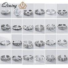 Bohême torsion fleur géométrique Bague ensembles feuille argent Knuckle Toe anneau femmes Thai argent Vintage rétro bijoux Bague