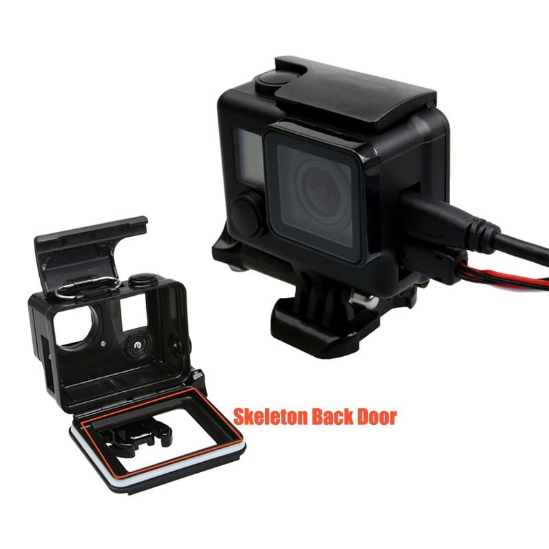 Carcasa protectora esqueleto puerta trasera Apertura lateral con agujero negro hacia fuera con cristal de lente para GoPro Hero 4 accesorios