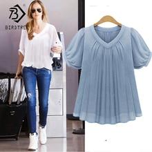 Camisa feminina blusa grande tamanho plus size 5xl verão casual blusas femininas manga curta plissado chiffon feminino topos t7n010a