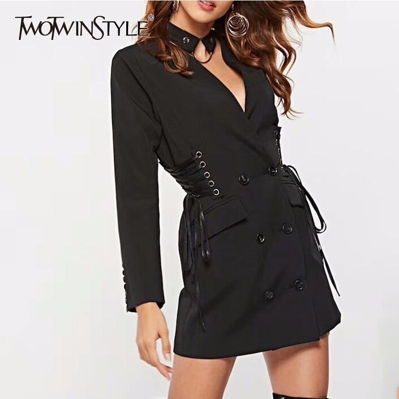 TWOTWINSTYLE Lace Up alta cintura Blazer Vestido Mujer manga larga gargantilla cuello V Mini traje Vestidos Mujer ropa Sexy 2019 otoño