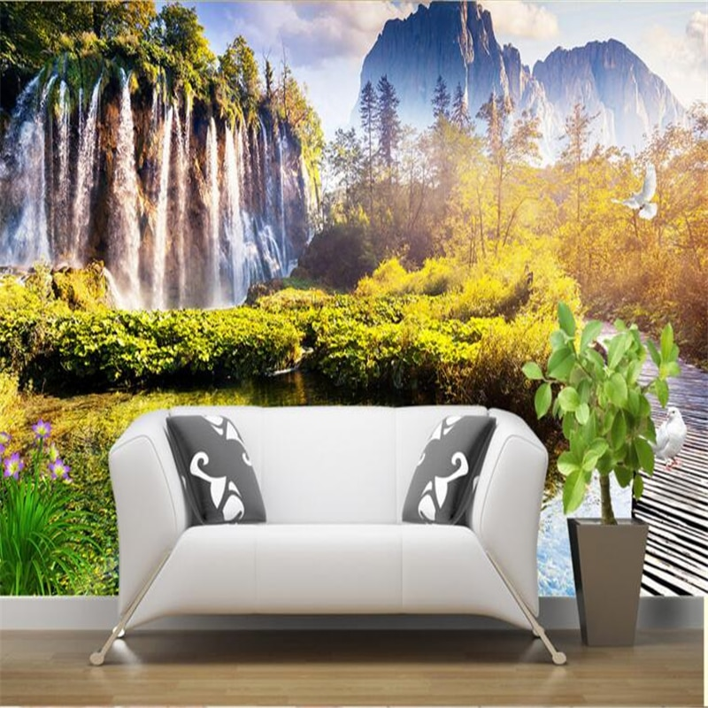 Beibehang grandes papeles de pared personalizados estético Falls Wonderland cisne blanco ganso Continental sala de estar TV telón de fondo
