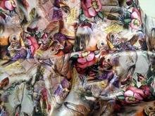 Telas-tissu en Satin tissé Super dentelle   Tissu 100%, soie rose, à motif de fleurs de libellule, tissu imprimé, tissu de Textile, couture, matériel pour robe