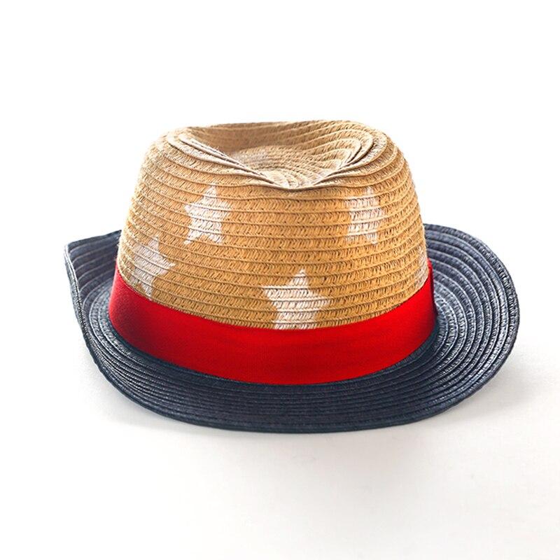 Fashion Stars Straw Child Summer Sun hat Boy Boho Beach Fedora hat Sunhat Trilby Girl Panama Hat Gangster Cap Good Pack 2-8 year