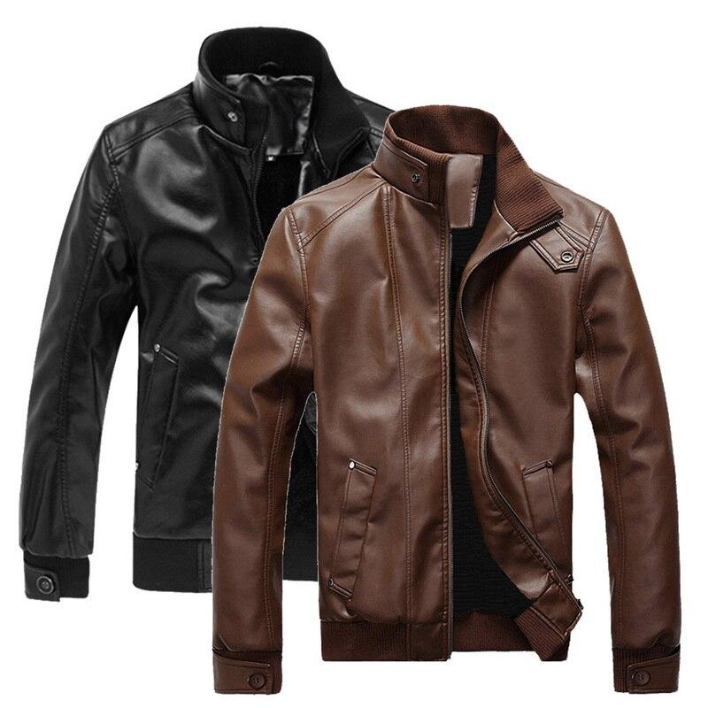 ¡Novedad de 2020! Chaqueta de motociclista de piel para hombre de otoño e invierno, abrigos casuales Retro de piel sintética de locomotora para hombre, ropa caliente de motorista de talla grande XXXL