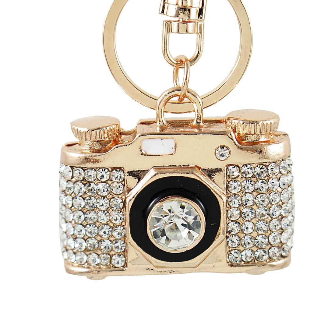 Мини-брелоки в форме фотокамеры со стразами, держатель для кольца из сплава, брелоки для автомобиля, женские брелоки, Сумка с подвеской в подарок