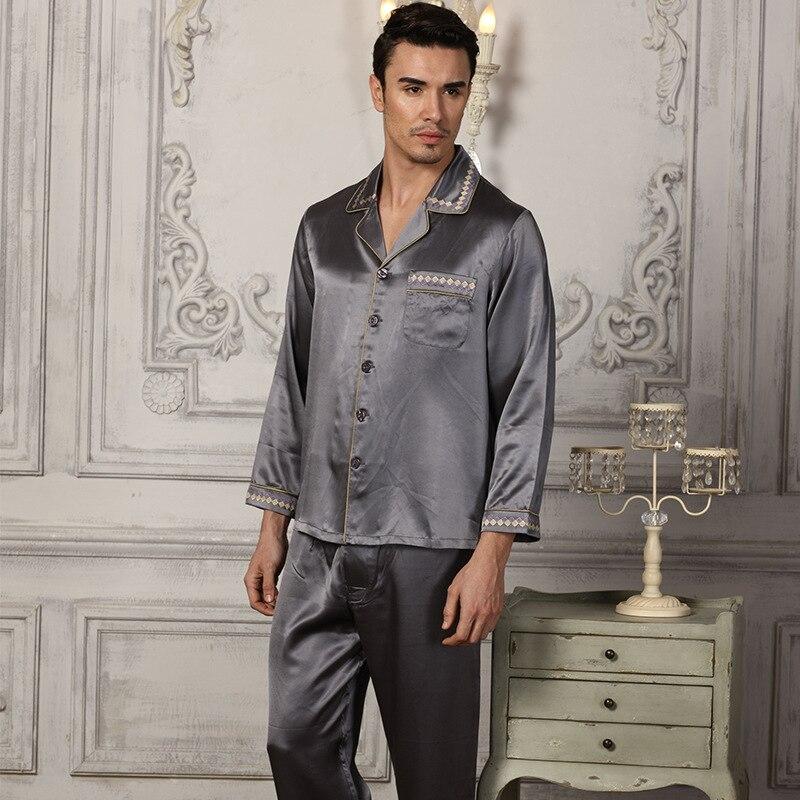 2020 мужской% 27 натуральный шелк пижамы с длинными рукавами комплекты шелкопряд шелк дом одежда из двух частей 100% 25 шелк пижамы мужские 15076