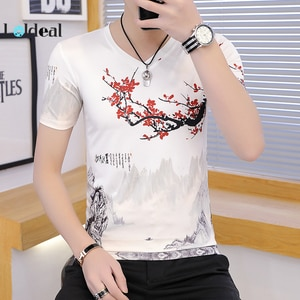 LOLDEAL Summer New Chinese Style Ice Silk Ink Painting Short-sleeved T-shirt Men's Casual V-neck Slim T-shirt