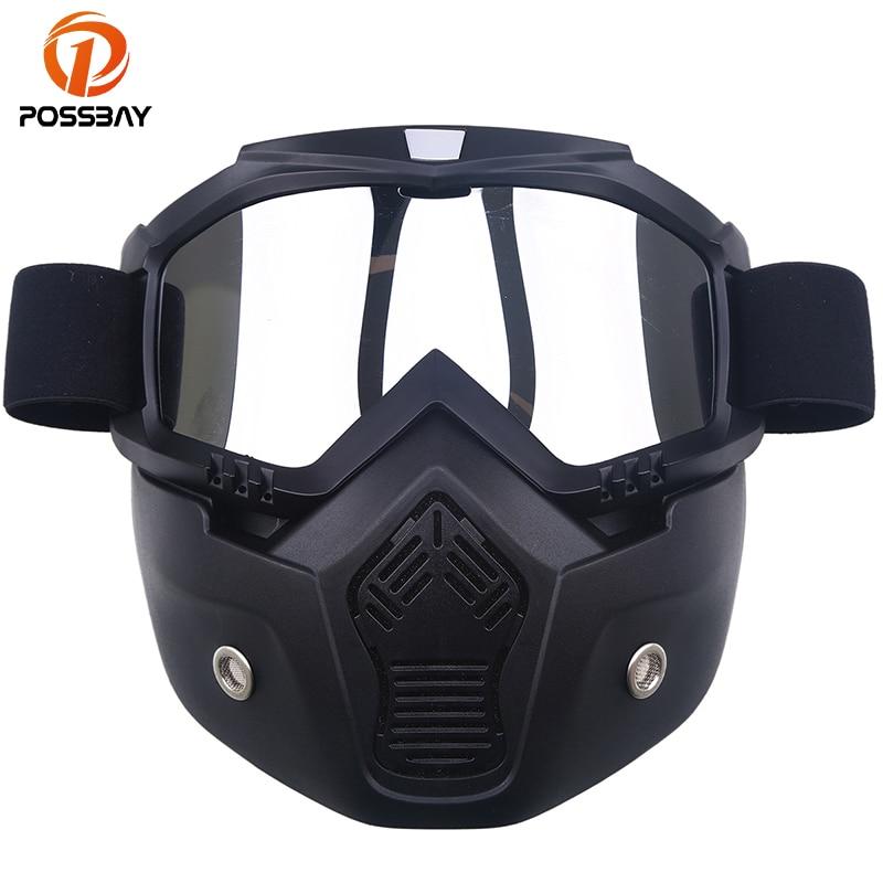 POSSBAY 20Types Detachable Motorcycle Goggles Mask Ski Snowboard Motocross Oculos Gafas Scooter Glasses Motorbike Half Helmets