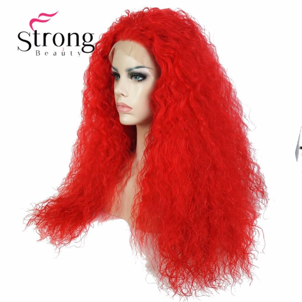 StrongBeauty الأحمر الدانتيل الجبهة طويلة غريب مجعد عالية الحرارة الكامل الاصطناعية الدنتلة