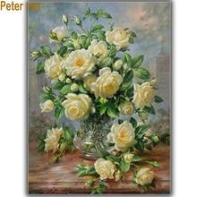 Peter ren-ensembles de peinture diamant croix   Bricolage, broderie diamant blanc Rose, perceuse carrée 3d, strass image complète, couture