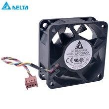 Ventilador DELTA AFC0612D de 60mm, 6025 60x60x25mm, 12 V, 0.60A, 4 cables, 4 pines, PWM, rodamiento de doble bola, ventilador de enfriamiento de aire de alto volumen
