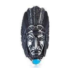 ZMZY grand Vintage Biker en acier inoxydable bague hommes tribu Apache indien chef anneau tête Punk Rocker Figure bijoux