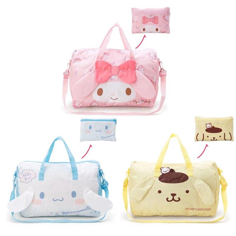 Linda caricatura Cinnamoroll My Melody carrito plegable bolsa de viaje Rosa mujeres niñas Tote Duffle Bags bolsa de equipaje de mano
