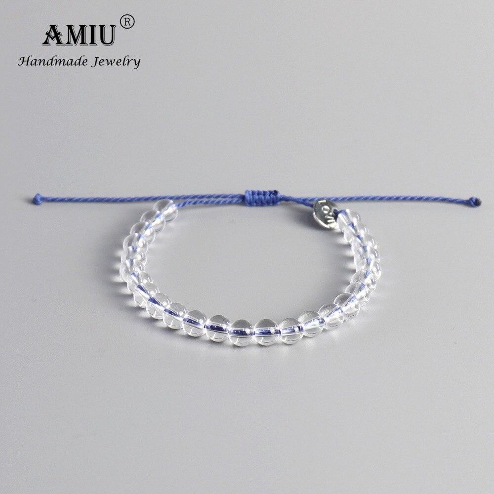 AMIU 6MM High Quality Clear Bead Bracelets Natural Bead Men Women Wax Cord Friendship Bracelet Natural Stone Beads Bracelet