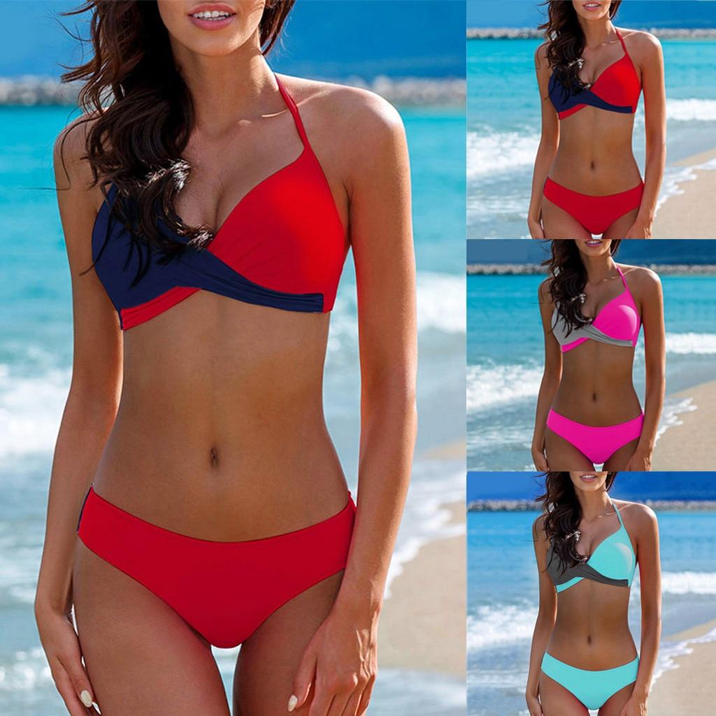 Bañador Sexy para mujer, 2 uds., conjunto de Sujetador de Bikini de forma triangular, ropa de baño, traje de baño para verano W0523