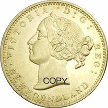 Pièces de monnaie avec copie de 2 Dollars   provinces canadiennes, terre-neuve, or, laiton, Victoria, 1870