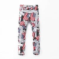2019 Fashion Casual Slim Hip Hop Jeans for Men Pencil Pants Cool American Flag Letter White Print Plus Size