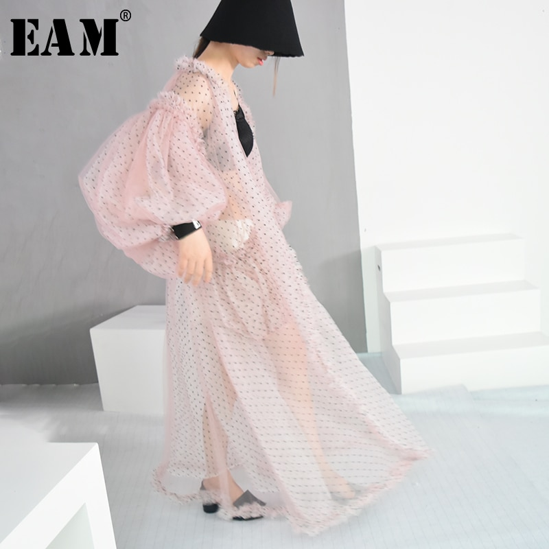 [EAM]2020 New Spring Summer V-collar Long Lantern Sleeve Dot Printed Perspective Big Size Long Shirt Women Blouse Fashion JF394