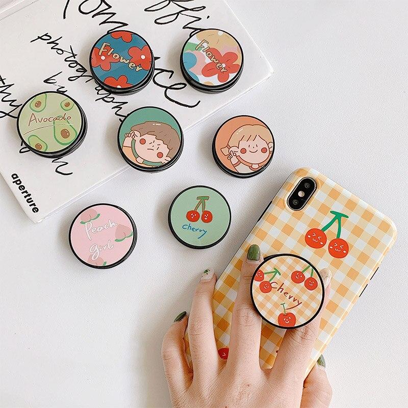 Soporte plegable con bonita flor para teléfono móvil, soporte para iPhone X, 8, 7, 6 Plus, para Samsung, Huawei, funda de teléfono, mango de fruta, Kichstand