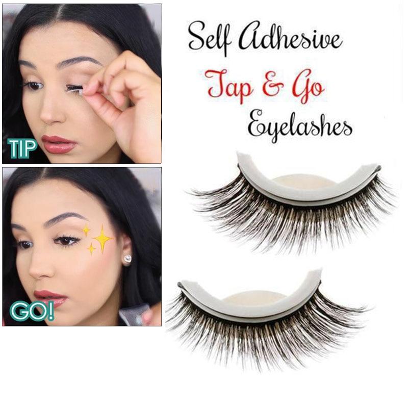 Tip N Go-pestañas autoadhesivas, reutilizables, pestañas postizas de rizado Natural 3D, extensión de pestañas postizas de visón, herramientas de maquillaje