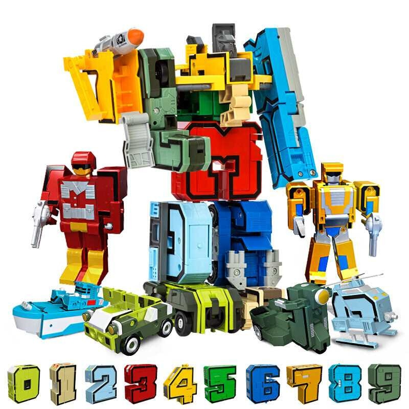 10 шт. трансформация цифры робот деформация фигурки Brinquedos город DIY творческие Строительные блоки Друзья дети Сборка игрушки
