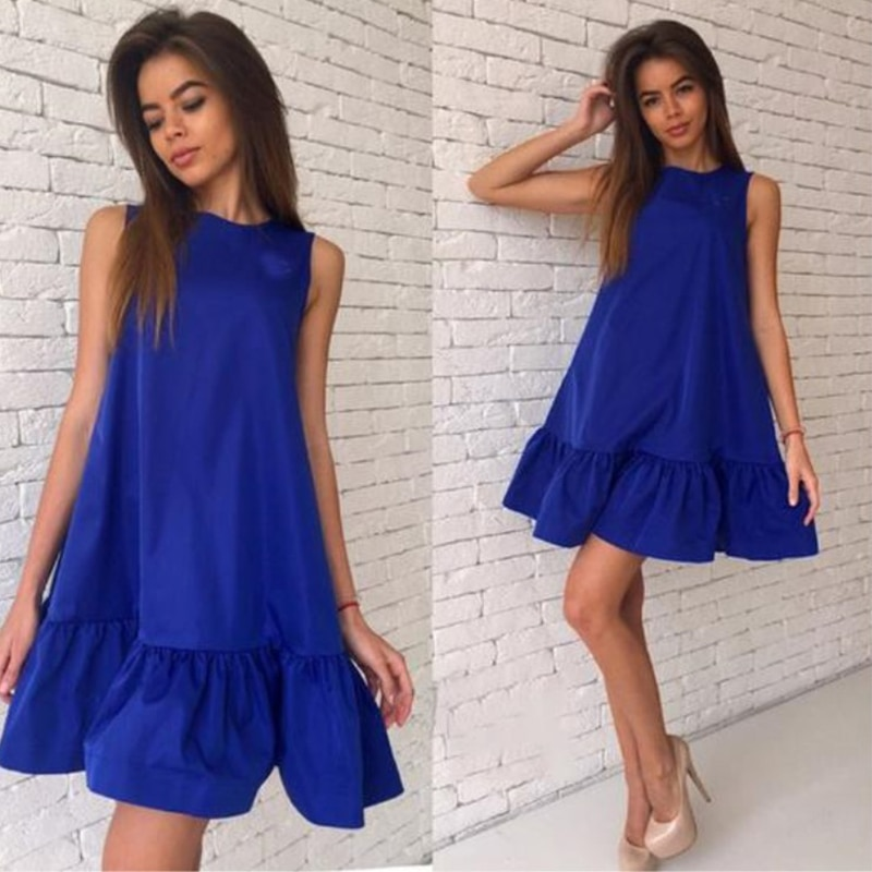 SHIBEVER-Vestido corto bohemio sin mangas, Vestido corto elegante e informal para mujer, vestido de fiesta para verano ALD57
