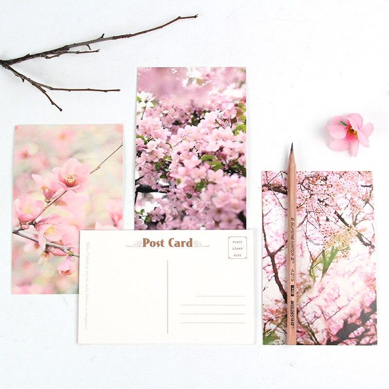 30 hojas, juego creativo de postal de flor de melocotón, tarjeta de felicitación, tarjeta de mensaje, tarjeta de regalo de Sobre Carta de cumpleaños