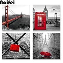 DIY Diamond Painting Cross Stitch 4pcs of City View Painting in London Paris,Red Love Lock,Bridge,Umbrella,telephone booth