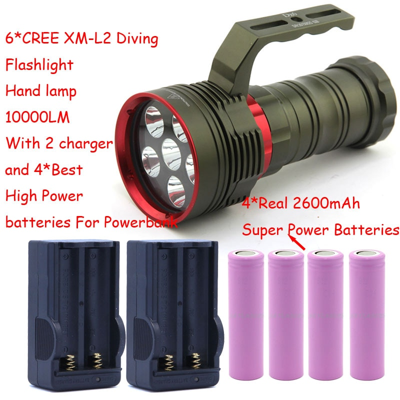 10000 Lumens Lanterna Mergulho Submarino XM-L2 6x LED Lâmpada Luz Mão Tocha Lanterna lanterna Com Bateria & Carregador 4