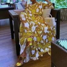 Summer Elegant Boho Yellow African Black Girls Women Long Dresses Plus Size Casual Print Ethnic 2019 Female Fashion Maxi Dress