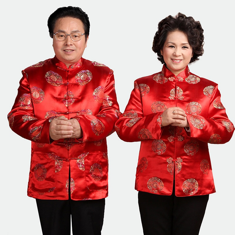 Chaqueta tradicional china mujeres hombres seda satén abrigo invierno Tops talla M-3XL