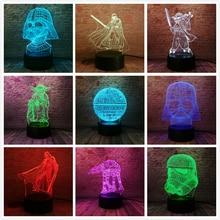 Fans de guerre des étoiles cadeaux étoile de mort dark vador maître Yoda Jedi Leader 7 couleurs dégradé 3D lampe LED veilleuse noël nouvel an cadeaux
