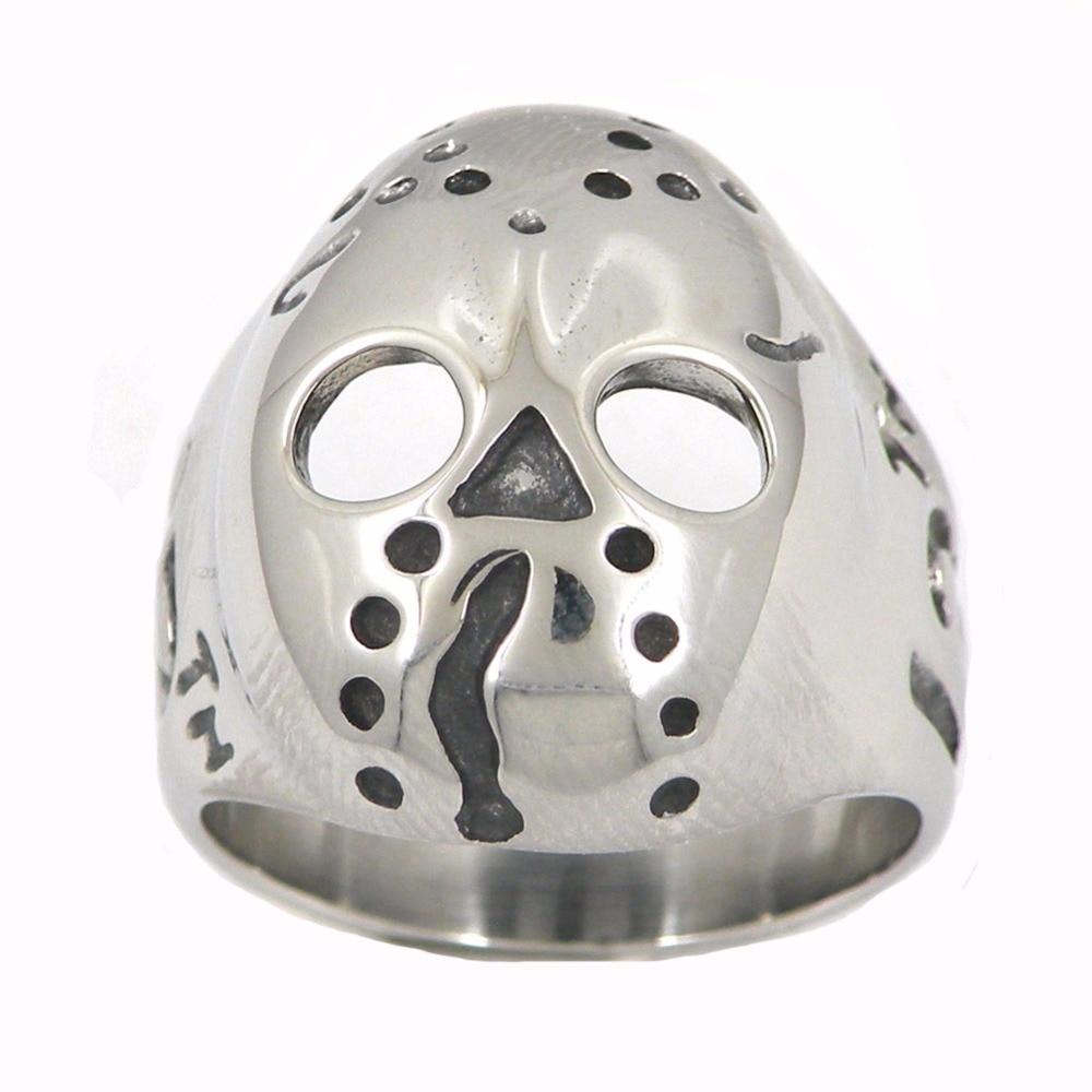 Fanssteel, joyería de acero inoxidable, anillo con máscara de hierro LUCKY THIRTEEN SKULL FRS13W11