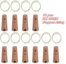 10pcs/lot Cork Shape Bottle Copper Lights 2M 20 Leds Button Battery Operated LED String Light Xmas Wedding party Decoration