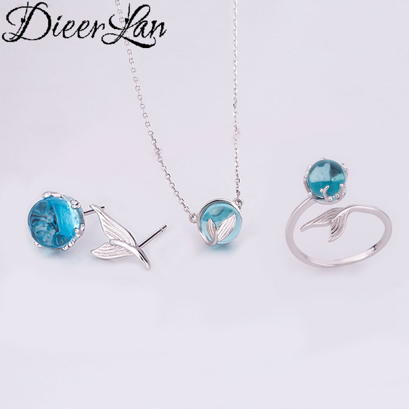 Dieerlan moda casamento conjuntos de jóias de noiva 925 prata esterlina sereia cauda colares anel brinco para mulher jóias