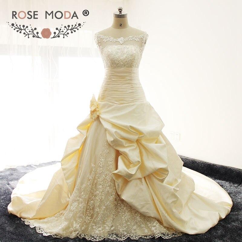 Rosa Moda Bateau cuello sin mangas champán vestido de boda Semi Catedral tren fotos reales